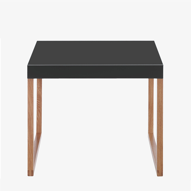 Square Side Table Minimalist Furniture , Wrought Iron Coffee Table Black  Paint Red Oak White Oak