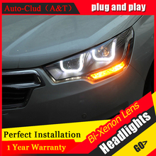Auto Clud Car Styling for Citroen C4L Headlights 2014 C4 LED Headlight DRL Lens Double Beam