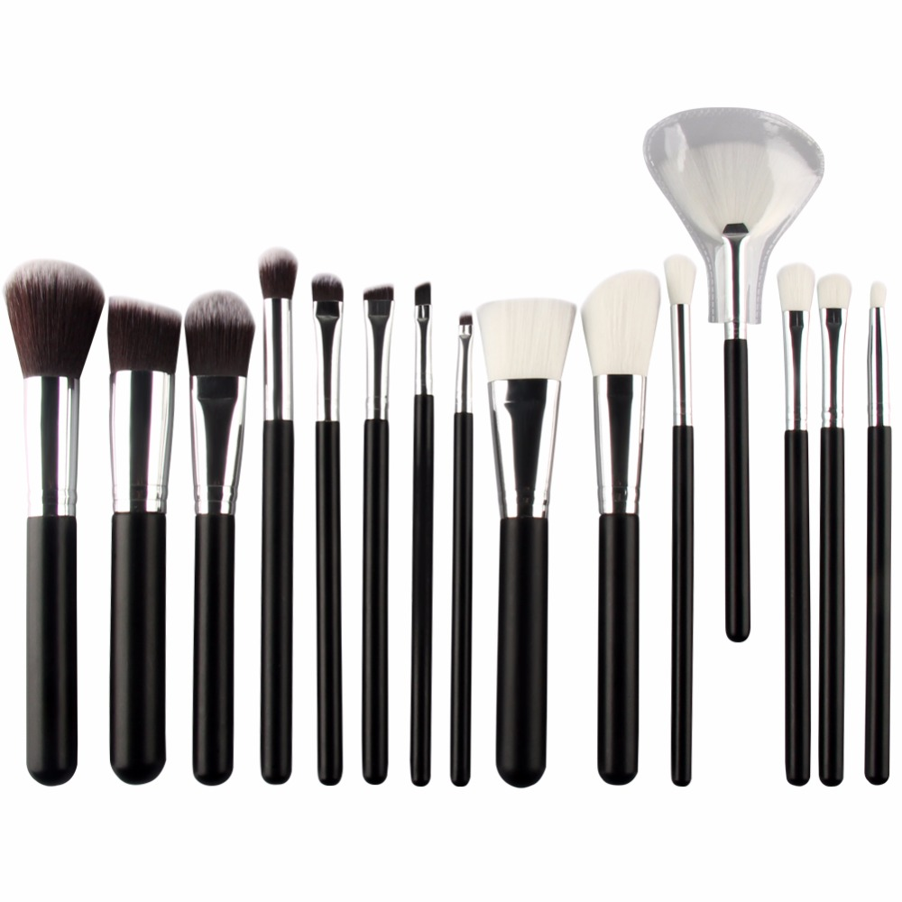 15pcs black silver goat hair cosmetic Brushes Set Powder Foundation Eyeshadow Concealer Eyeliner Lip Brush kits makeup Tools phases for life lp