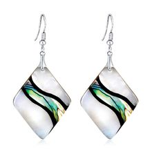 NTTHNCF Abalone Earrings Geometric Shell Pendant Dangle Square Colorful Unique Charms Water Drop Women Jewelry Decoration