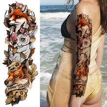 1piece New Temporary Tattoo Sticker Fox Rabbit Peacock skull dragon Full arm Flower Tattoo Body Art Big Large Fake Tattoo sleeve