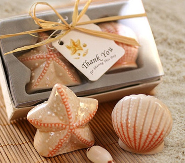 100pcs 50bo Starfish Sea Shell Salt Pepper Shakers Favors Beach Themed Wedding Party And