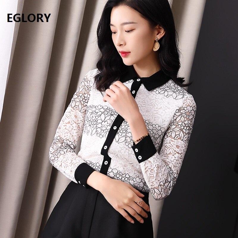Haute qualité dentelle Blouse 2019 printemps été couverture en dentelle femmes col rabattu noir blanc Crochet dentelle à manches longues chemise femme