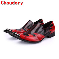 Choudory men leather dress shoes red black spiked loafers pointy men prom shoes italy handmade classic shoes men plus size