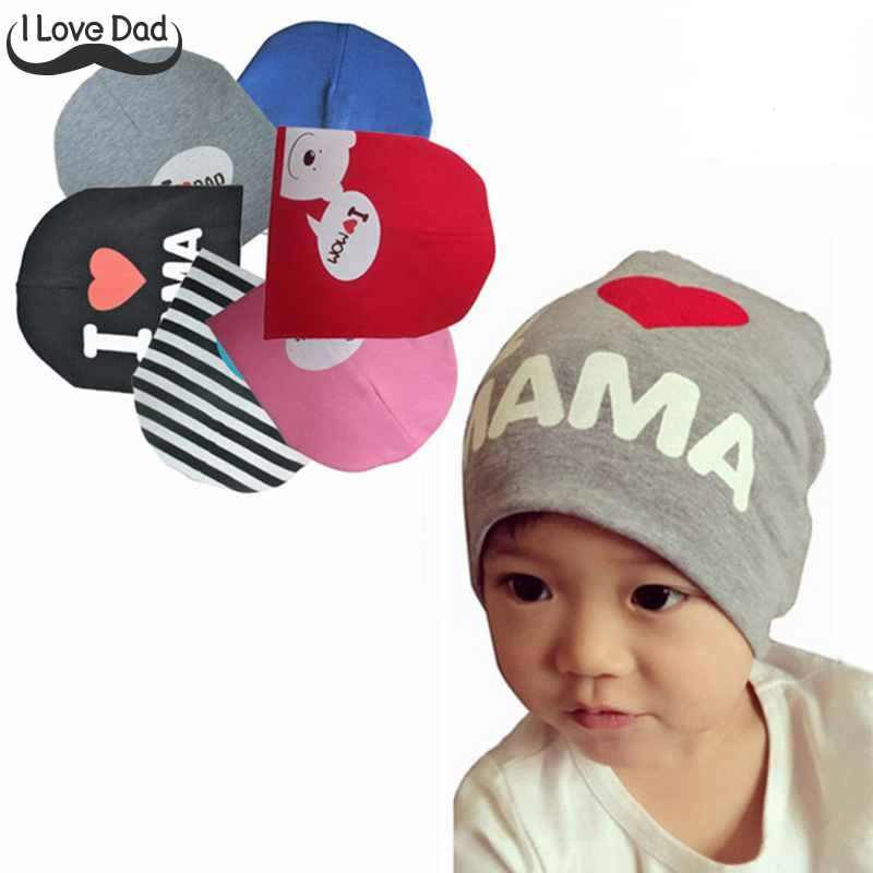 Spring Autumn Baby Hat Infant Cotton Cap I Love Mama Papa Caps Printed  Knitted Beanies Hats 81a895ebf9a