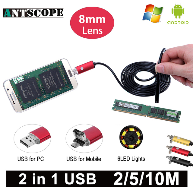 Antscope 8mm Length HD USB Android Endoscope Camera Red 2m 5m 10m PC and Android Phones Borescope Camera Snake Tube Endoskop