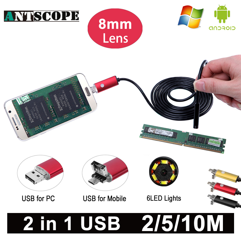 Antscope 8mm Length HD USB Android Endoscope Camera Red 2m 5m 10m PC and Android Phones Borescope Camera Snake Tube Endoskop 40