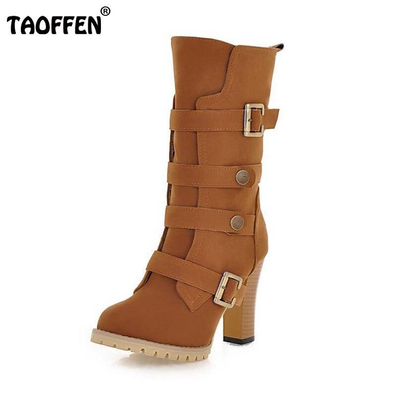 TAOFFEN Women Shoes Women Boots Middle Calf Winter Shoes Zipper Short Plush High Heeled Squared Heels