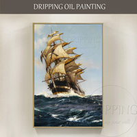 Top Artist Hand painted High Quality Realist Warship Oil Painting on Canvas Luxury Artwork Boat Warship Oil Painting for Office