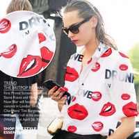 Width 145cm Red lips Digital Printed fabric 100% cotton fabric for women shirt Dress Sewing DIY Clothing cloth HOT SALE