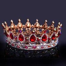 Diseños calientes de Europa Real Rey Reina Coronas Tiara de diamantes de Imitación Joyas de Cabeza de Quinceañera Corona Tiaras Coronas Del Desfile de Novia de La Boda