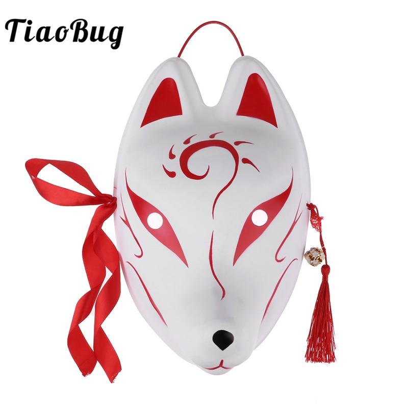 TiaoBug Hand-painted Japanese PVC Rabbit/Fox Mask with Tassels Bells Masquerade Festival Kabuki Kitsune Anime Cosplay Costume