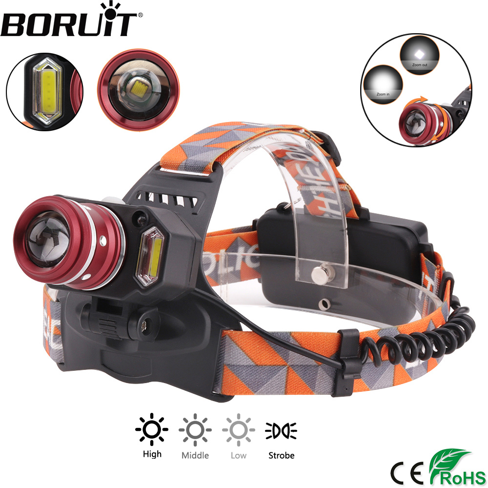BORUiT 2000LM XML-T6 COB LED Headlamp 4-Mode Induction Headlight Body Motion Sensor Zoom Head Torch Outdoor Camping Flashlight xml t6 2000lm led тактический фонарик факел света с горы дистанционного переключателя