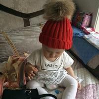 Children S Winter Cotton Hat Faux Fox Fur Pom Pom Hat Kids Warm Knit Cap Beanie