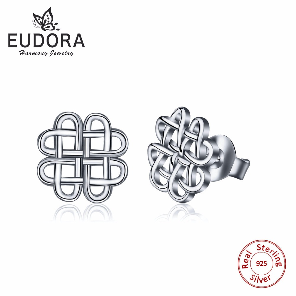 Unique 100% Real Pure 925 Sterling Silver Pated With Gold Earring Stud Heart Knot Earring Women Fine Jewelry Charming Gift