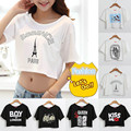2016 summer women's sexy navel baring cropped short sleeve t dropped waist short sleeve tee women's clothing crop top t shirt