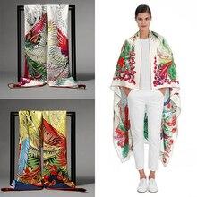 Новый 100% шелковый шарф саржевые переплетения 136 * 136 квадратных высокое качество печать лошадь листьев шаль мода цветочные женские шарфы рождественских подарков