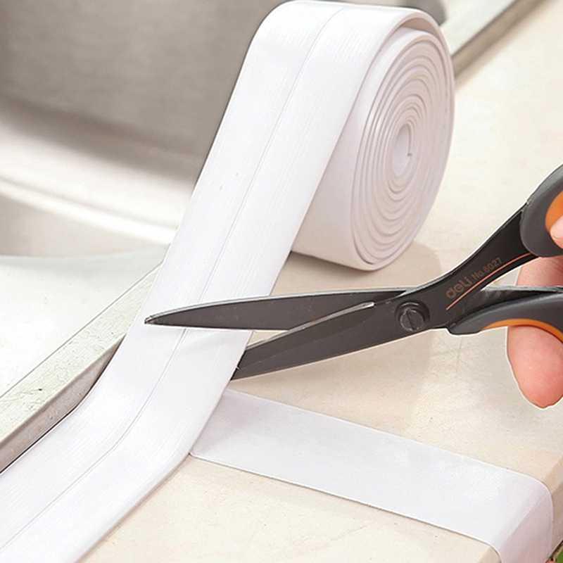 Protetor de borda à prova dmilágua anti-mofo da fita de selagem autoadesiva da tira do calafeto decorativo para a pia do fogão da cozinha do assoalho do chuveiro do banho