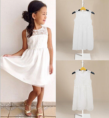 Cute Kids Girls Lace Floral Party Dress Princess Girl Summer Sleeveless Sundress Dresses Children clothes White 2-11Y summer kids dresses for girls pineapple lemon girl dresses cotton sleeveless children sundress sarafan clothes for girls 2 7y