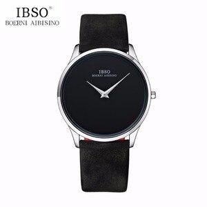 Роскошные простые часы IBSO для пар, ультратонкие кварцевые часы для мужчин и женщин, мужские часы с кожаным ремешком B2219