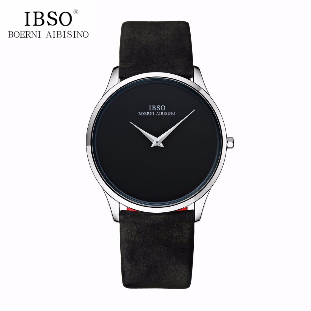 IBSO Luxury Simple Couple Watches Ultra Thin Quartz Watches for Men Women Leather Strap Watch B2219