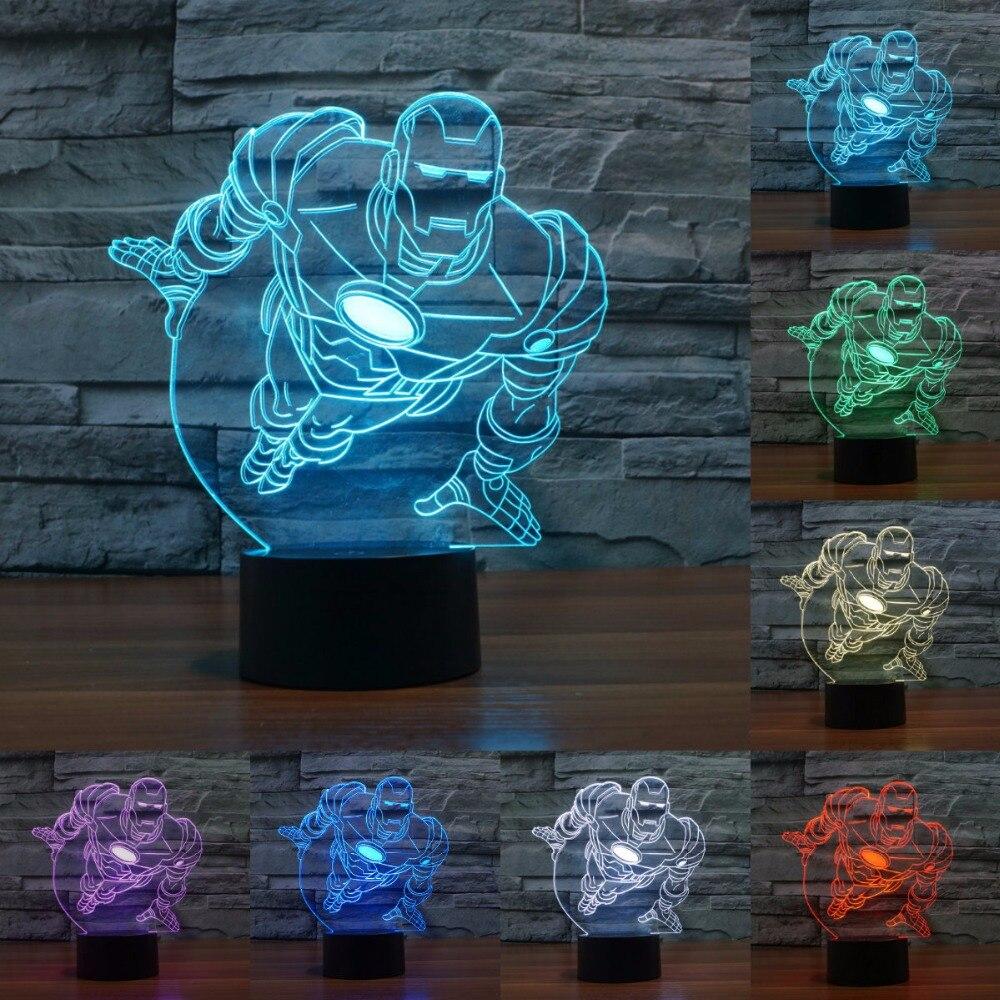 Acrylic light Novelty 7 color change 3D illusion led night light iron man mask shape LED table lamp Decorative Lamp IY803383