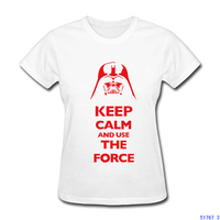 Keep Calm And Use The Force Lady t shirt women STAR WARS printed short sleeve design t shirt US size XS-2XL factory wholesale