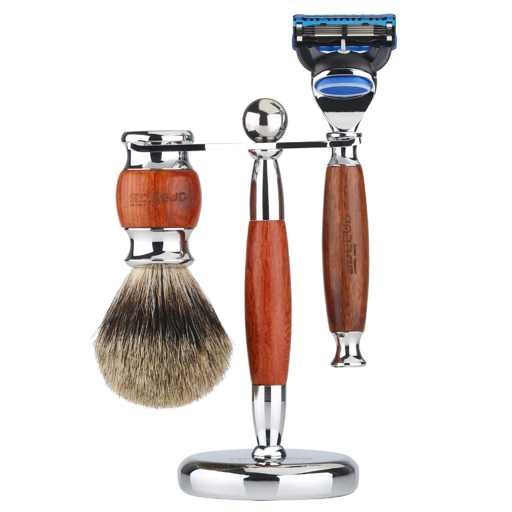 Anbbas 3pcs Wet Shaving Set with Pure Badger Hair Shaving Brush and Alloy with Solid Rosewood Razor and Stand Holder