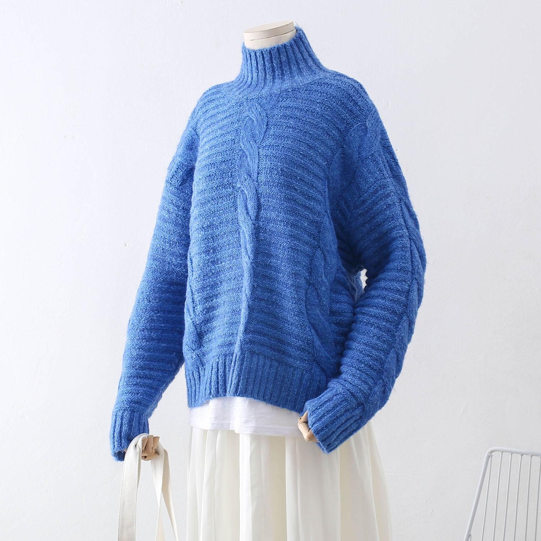507b88a8851 Femmes Jumper Bleu Tops 2018 rouge kaki Épais Nouveau Automne Femme À Roulé  Chandail Hiver Col Tricot Design Pull ...