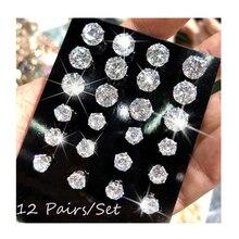 12 пар/упак. AAA CZ блестящие свадебные серьги-гвоздики набор для женщин и мужчин ювелирные изделия с кристаллами аксессуары серьги Oorbellen