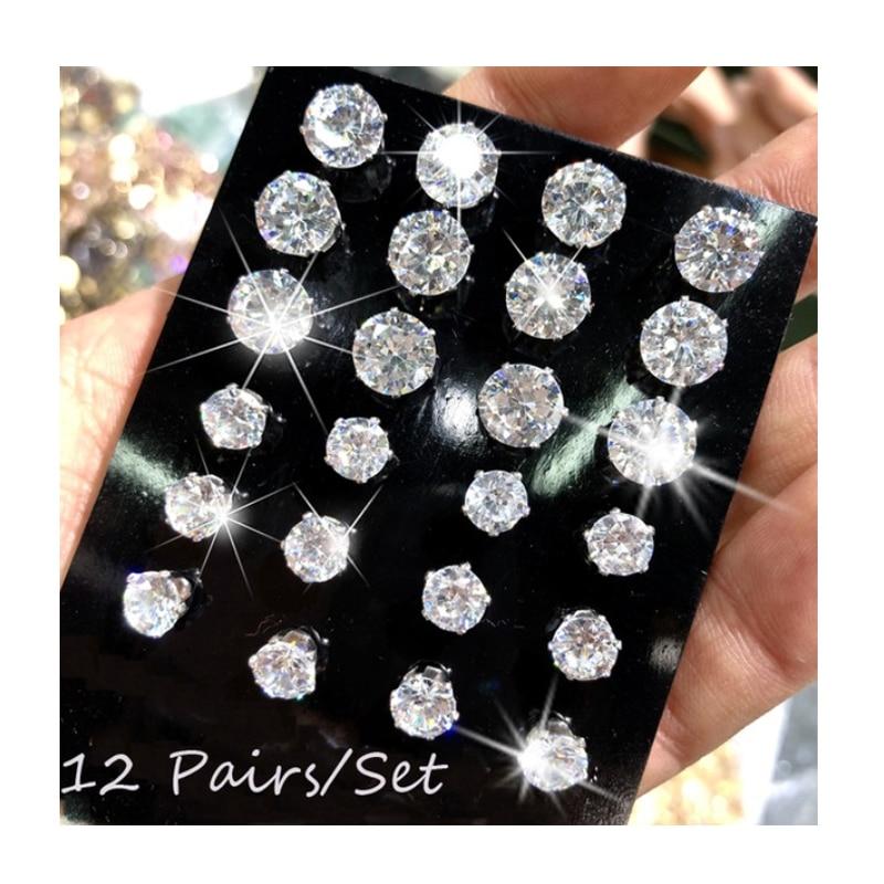 12 Pair/Pack AAA CZ Shiny Wedding Stud Earrings Set For Women Men Crystal Jewelry Accessories Earing Oorbellen Free Shipping