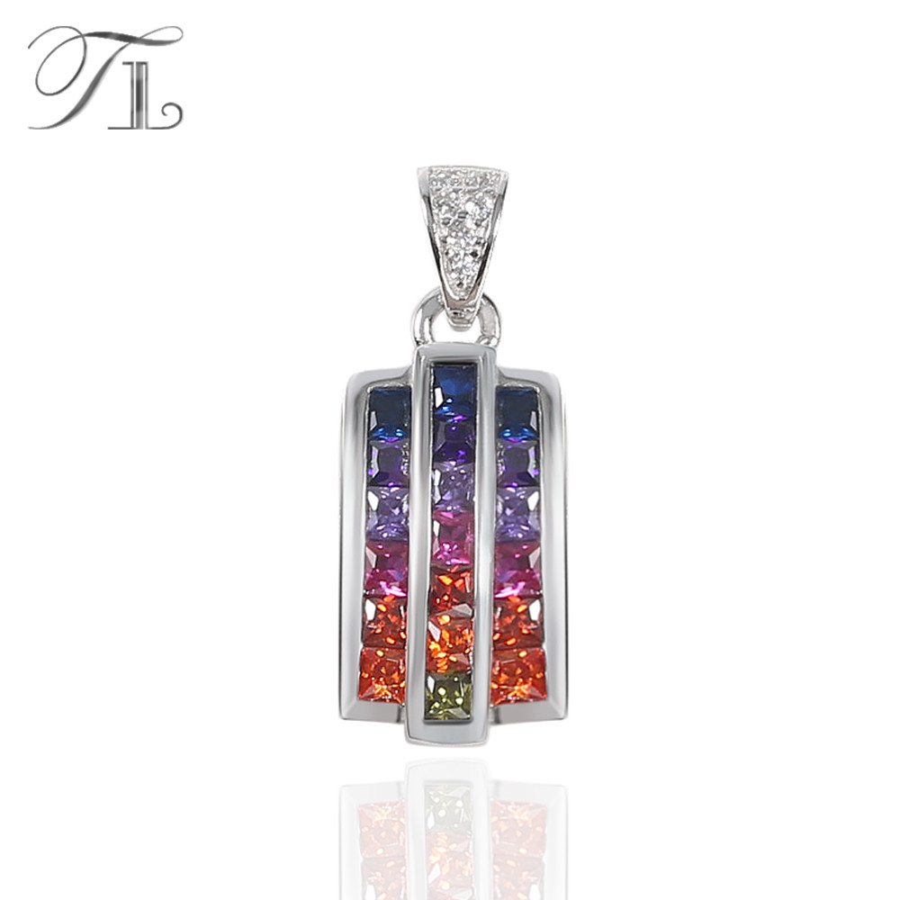 TL 925-Sterling-Silver Statement Pendant Necklace Inlaid Rainbow Colorful Cubic Zircon New Fashion S925 Pendant For Women Female