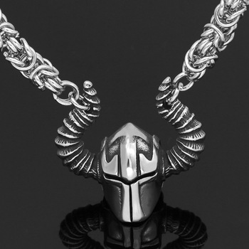 Nordic Viking Warriors Helmet Pendant Necklace  Viking Necklace