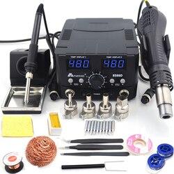 800 Вт 2 в 1 цифровой ESD фена паяльная станция сварочный паяльник 220 В для SMD распайки паяльная станция 8586 обновления