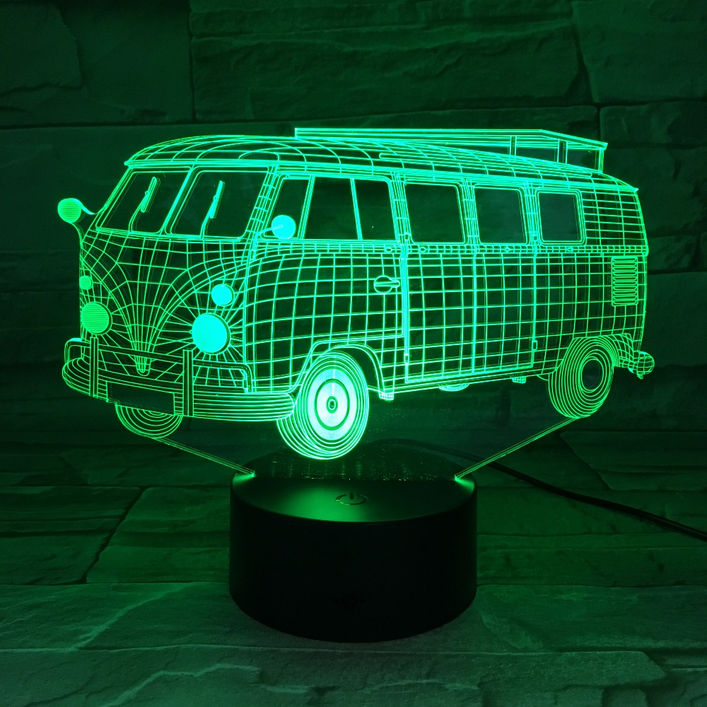 Mood Lighting Ideas From Visualchillout: 3D Camping School Bus Lights 3D LED 7 Colorful Acrylic