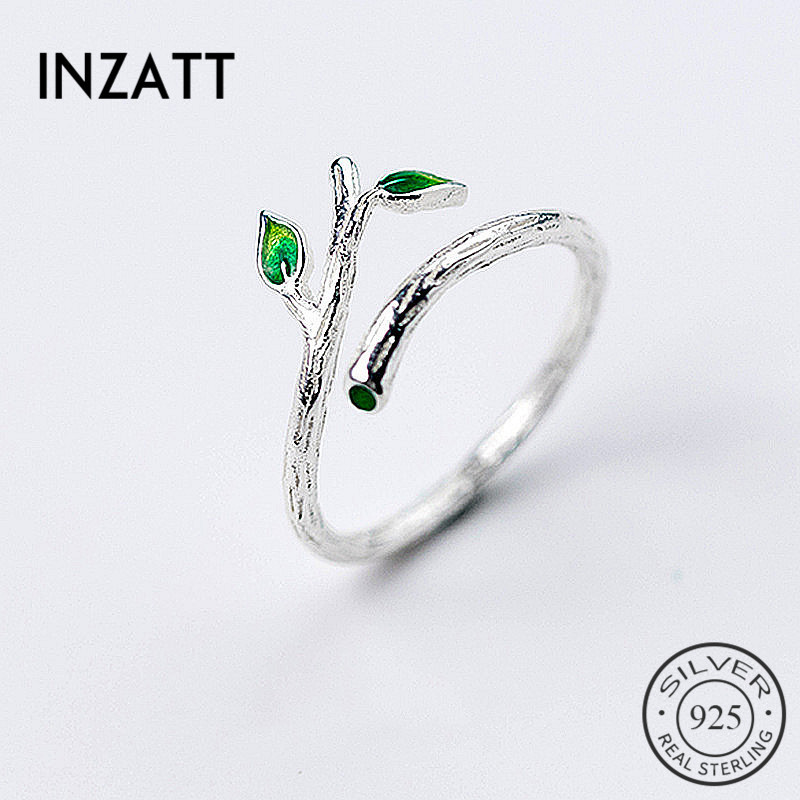 INZATT Charm  925 Sterling Silver Green Enamel Leaves Vintage Adjustable Ring 2018 Fine Jewelry For Women Party Accessories Gift