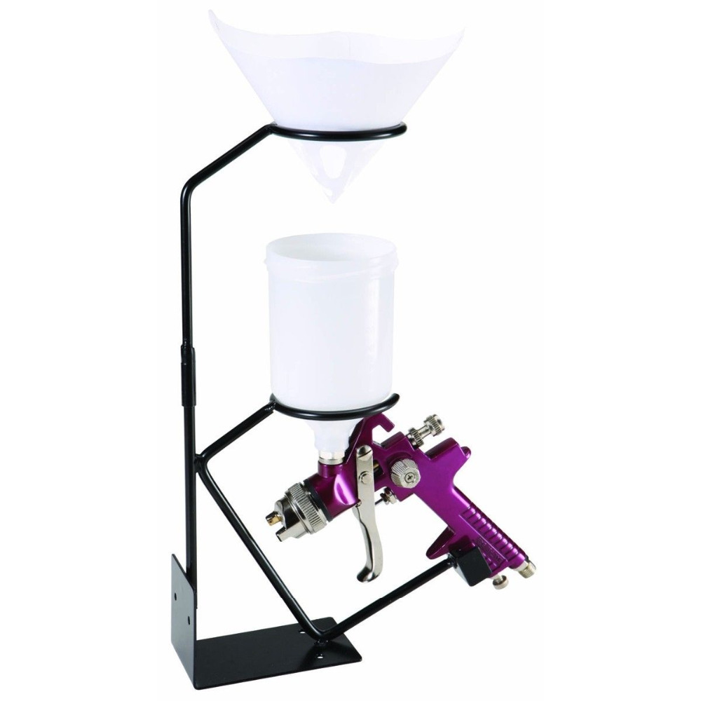 Gravity Feed Paint Spray Gun Stand Holder Sprayer Stand With Strainer Holder Wall Bench Mounted+Paint Paper Strainers