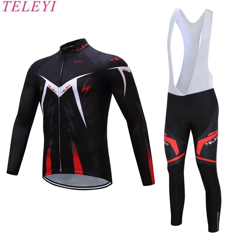TELEYI 2017 Pro Team black Long Sleeve Cycling Jerseys/Spring Autumn MTB Bicicleta Riding Bike Clothing Set Ropa Ciclismo Hombre