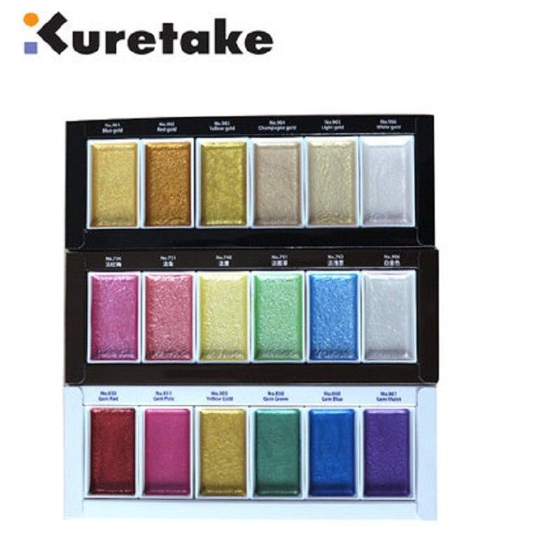 Kuretake Étoilé Couleurs Peintures Solide Métallique Or Aquarelle Peintures Perle Couleur Étoiles Couleur Peintures