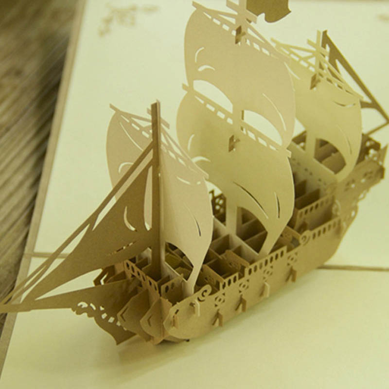 3D Pop UP Greeting Card Paper Sculpture of Model Ship Craft