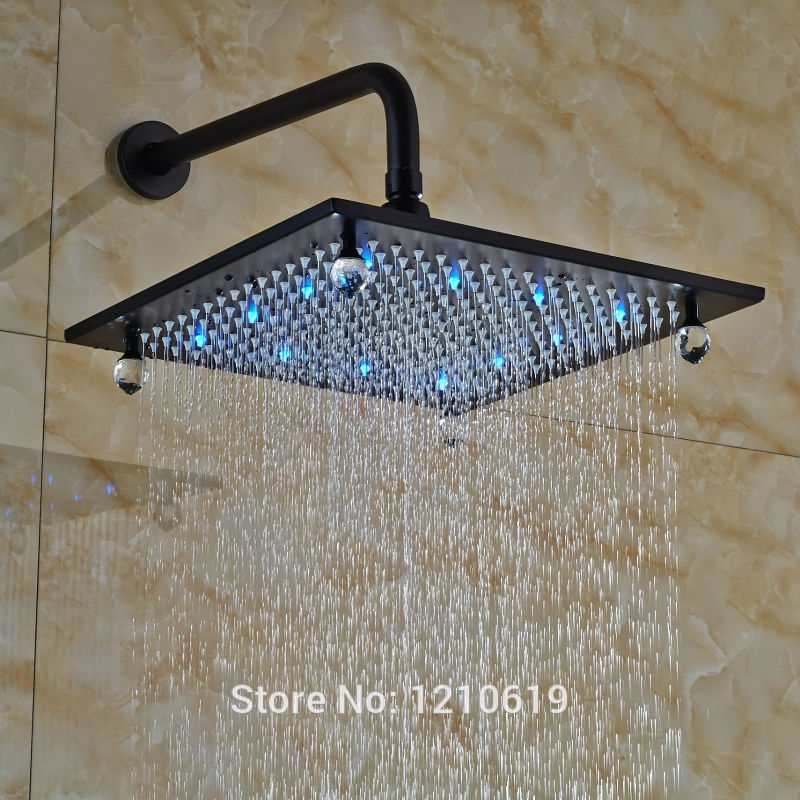Newly 12-inch LED Lights Top Shower Head w/ Shower Arm Oil-rubbed Bronze Crystal Shower Spray Head Wall Mount led 10 rainfall oil rubbed bronze shower head round top sprayer w wall mount shower arm