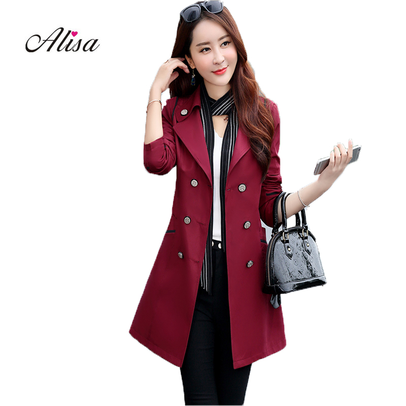 Harajuku Windbreaker Slim Women's   Trench   Coats 2019 New Spring Long Sleeve Double Breasted Elegant Ladies Classic   Trench   Coat