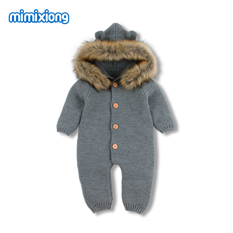 Baby Clothes for Newborns Baby Boys   Rompers   Jumpsuits Winter Warm Infantil Girls Knitted Overalls Hoody Long Sleeve Kids Outfits