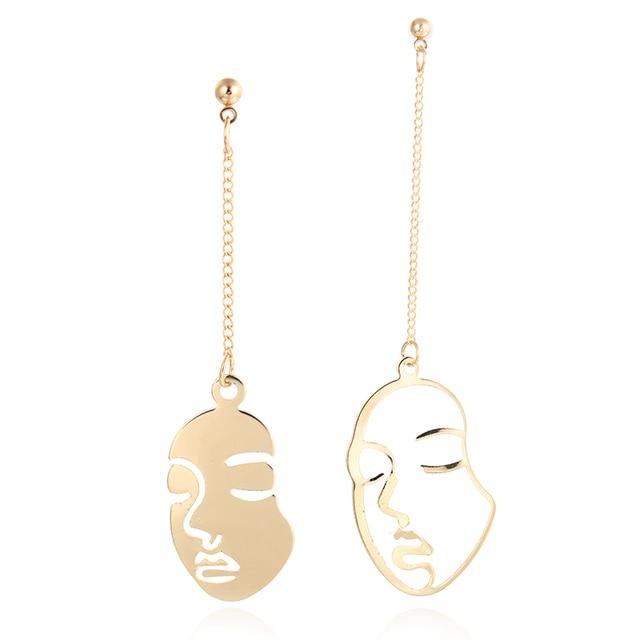 Abstract Art Drop Earrings Gold Color Face Statement Dangle Earrings Girls Fashi