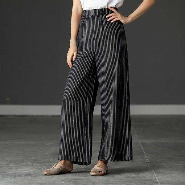 Simple Striped Lady Wide Leg   Pants   Women Summer Beach High Waist Trousers Casual Streetwear Casual   Pants     Capris   Female