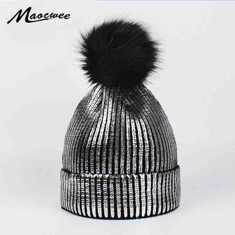 Fashion Bronzing Gold Silver Caps Faux Fur Pompon Ski Hat for Women Winter Knitting Warm Hats Female   Skullies     Beanies   Bones
