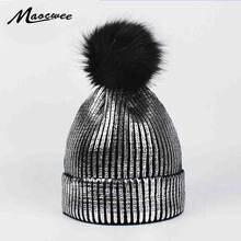 ac6783a7406fd6 Fashion Bronzing Gold Silver Caps Faux Fur Pompon Ski Hat for Women Winter  Knitting Warm Hats