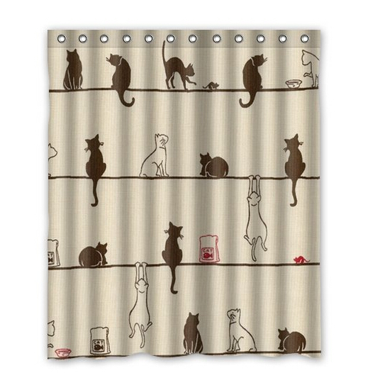 cute black and white cats home decoration fabric modern classical custom shower curtain bathroom waterproof eco