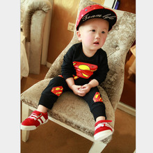 Anlencool 2019 Real New Coat Free Shipping Superman Baby Clothes Korean Boy Suit Solid Color Printing Suits Children's Clothing