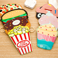 2pcs lovely mini cartoon coin purse cake donut hamberger pop corn candy cake cute small wallet adorable food bag  fashionable
